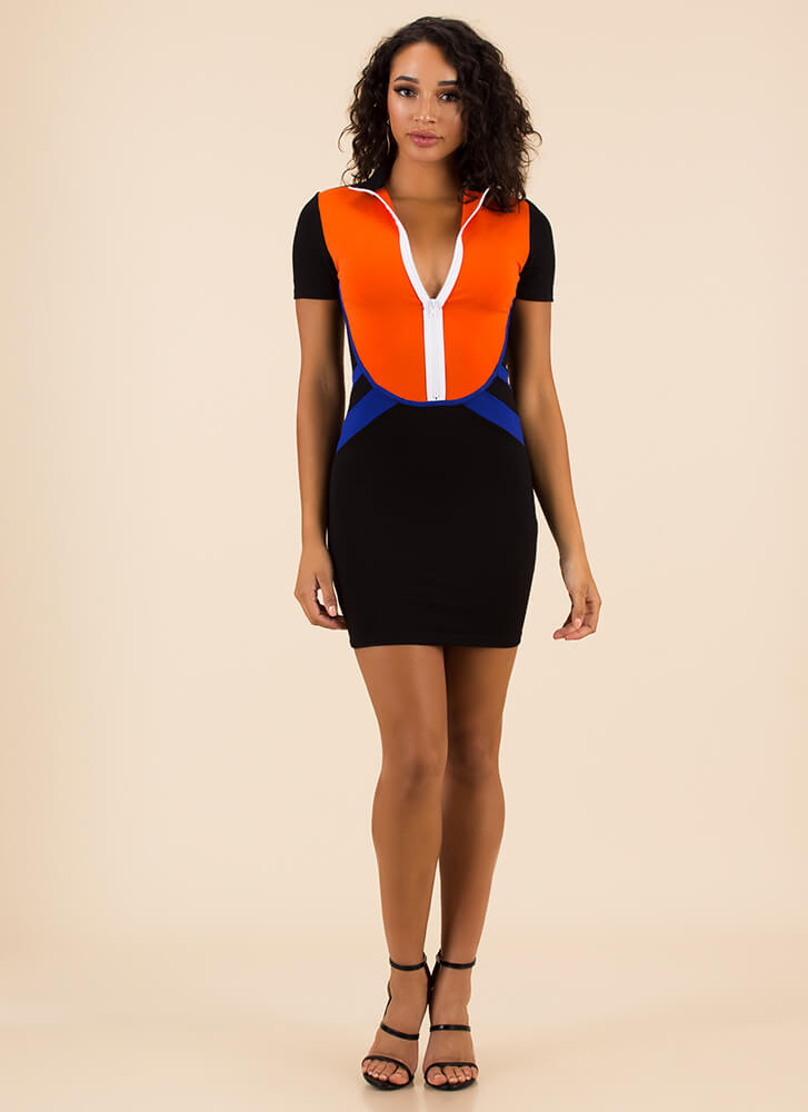 Go For It Sporty Zip-Front Minidress BLACKMULTI