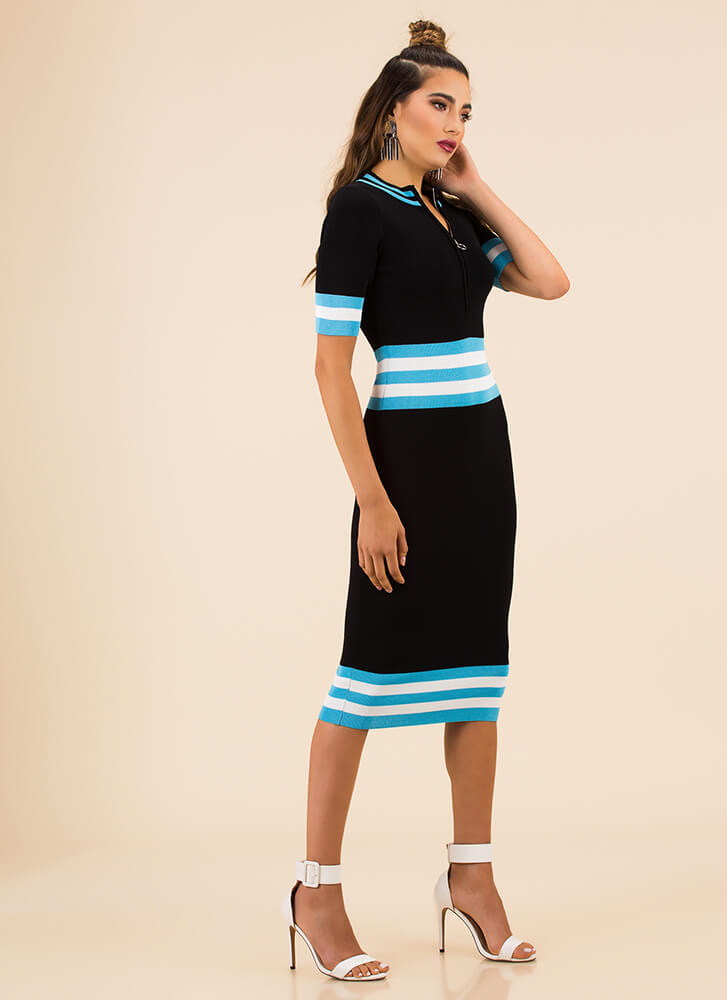 Stripe For The Best Zip-Front Knit Dress BLUE