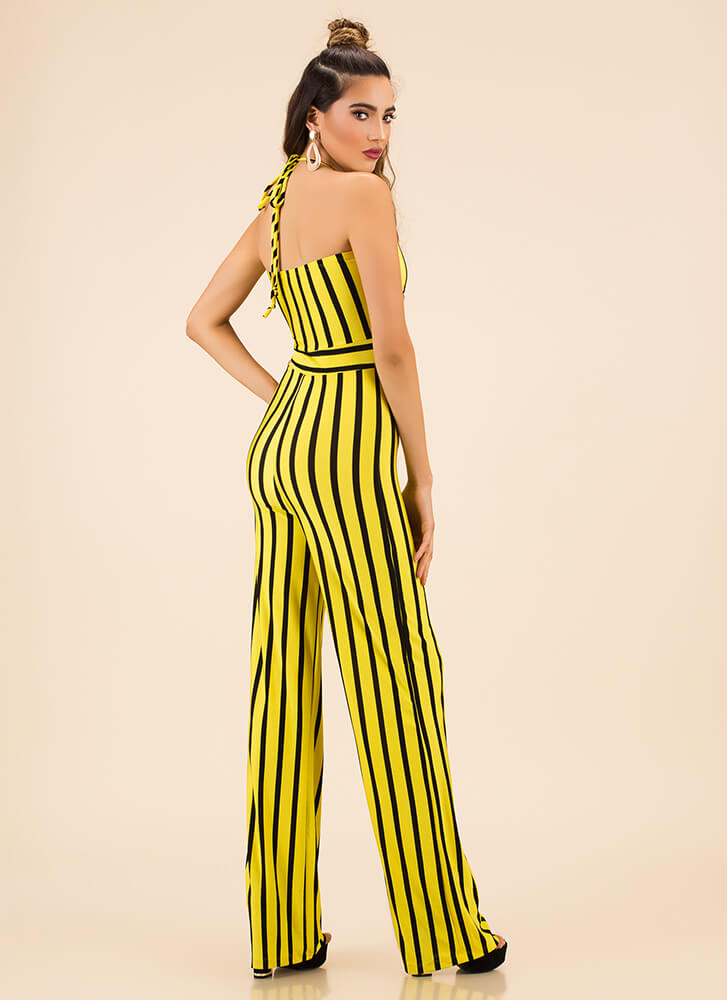 Big Entrance Striped Halter Jumpsuit YELLOW (You Saved $24)