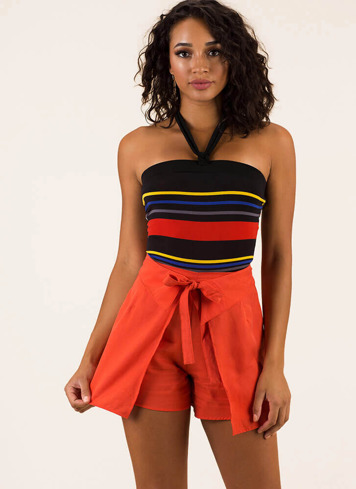 Something New Tied Paneled Shorts ORANGE