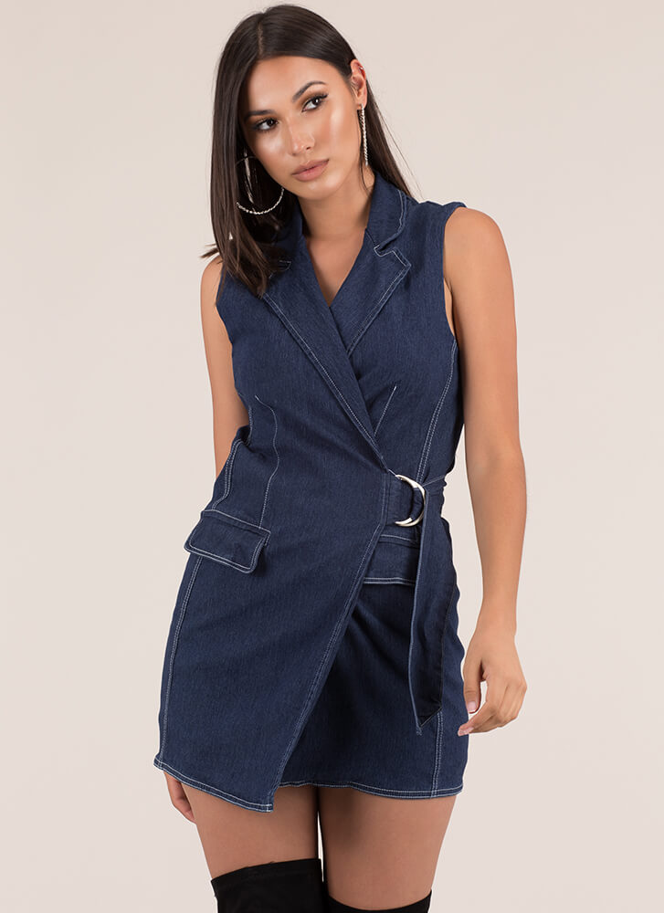 It Suits You Wrapped Denim Dress DKBLUE