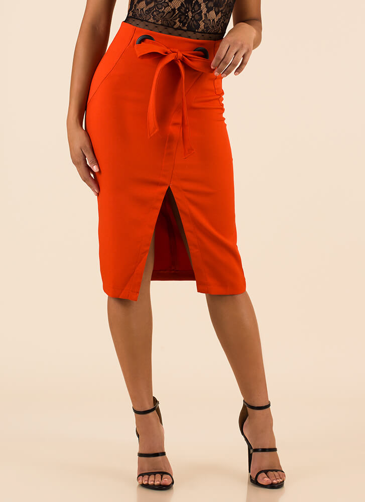 Better With A Bow Slit Pencil Skirt ORANGE