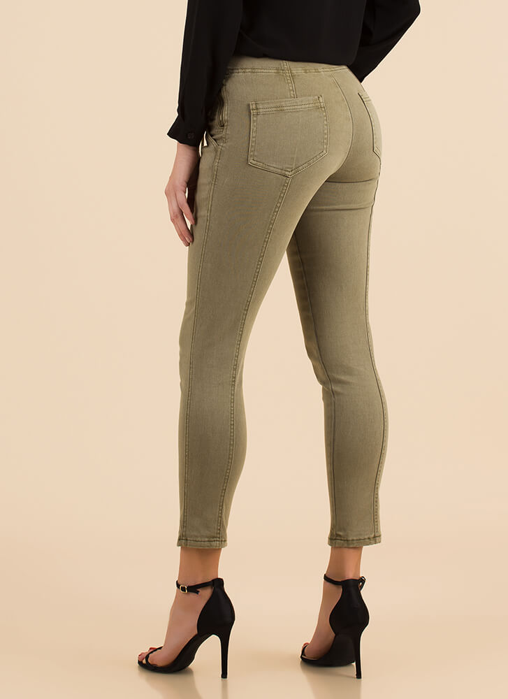 Tie One On Lace-Front Skinny Pants OLIVE
