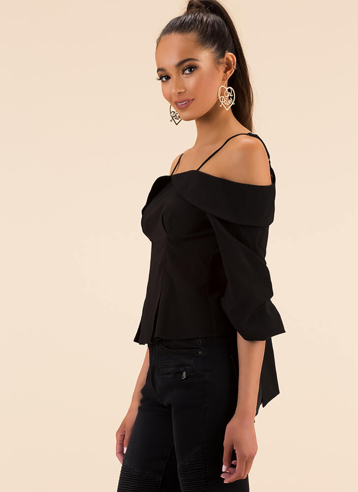 So Sweet Tie-Back Cold-Shoulder Top BLACK
