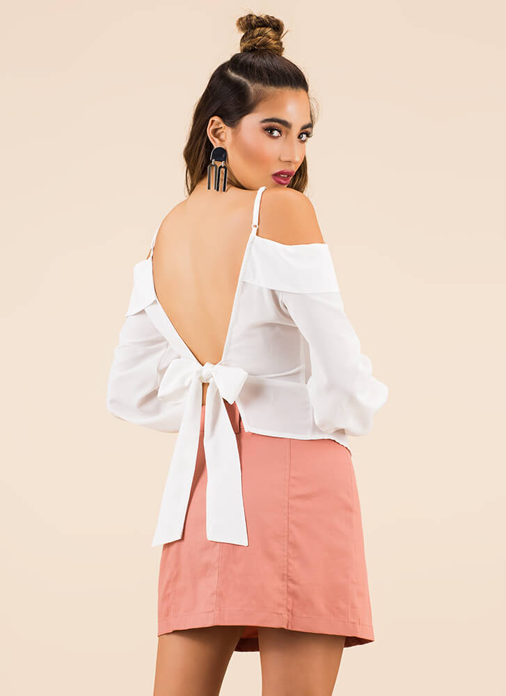 So Sweet Tie-Back Cold-Shoulder Top WHITE