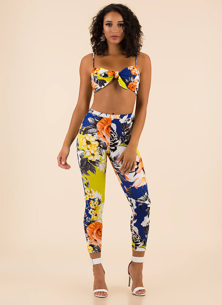Mixed Bouquet Floral Top And Legging Set ROYAL