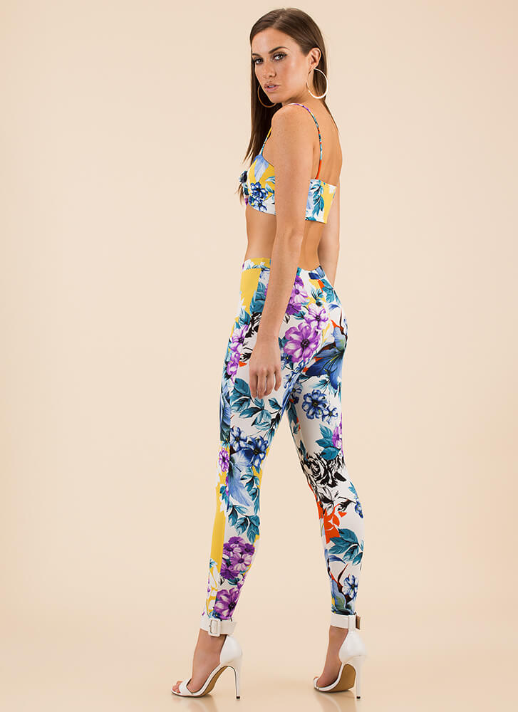 Mixed Bouquet Floral Top And Legging Set YELLOW
