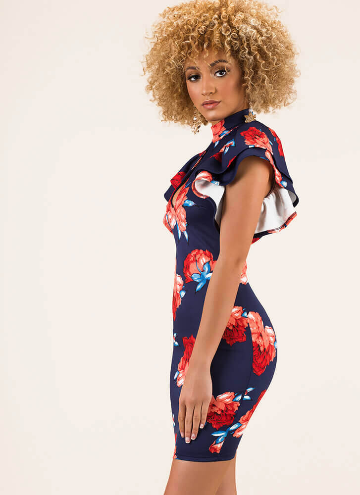 Give Me Floral Ruffled Keyhole Dress NAVY