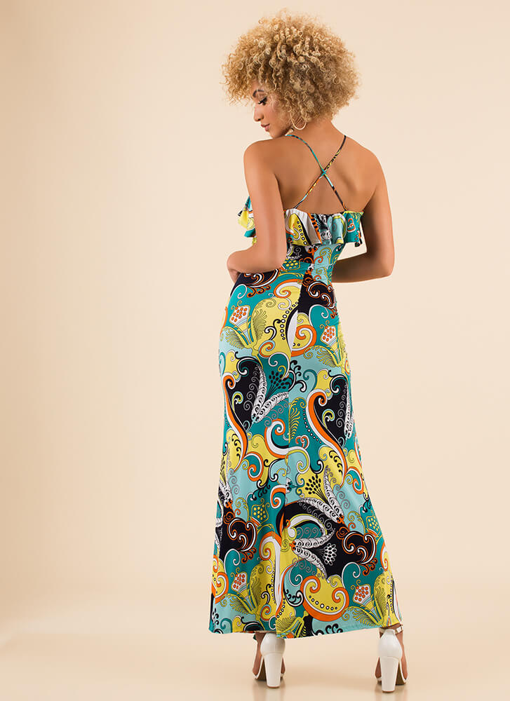 Boys And Swirls Ruffled Print Maxi Dress GREENMULTI