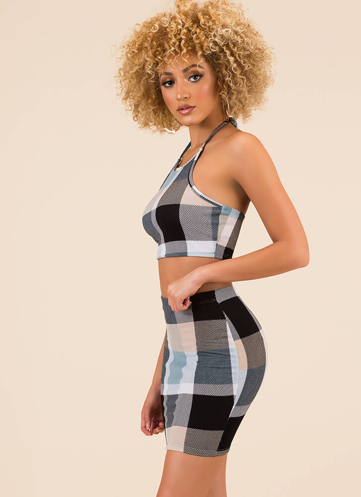 Plaid At Love Halter Top And Skirt Set BLUEMULTI