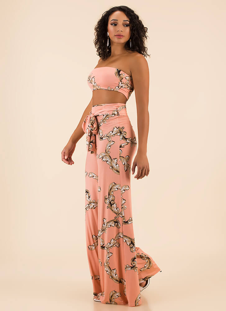 Scroll Up Strapless Top And Pant Set by Go Jane