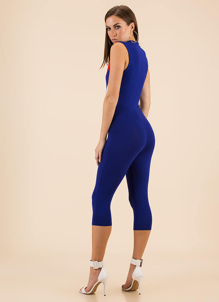 Flying V Zip-Front Chevron Jumpsuit ROYAL