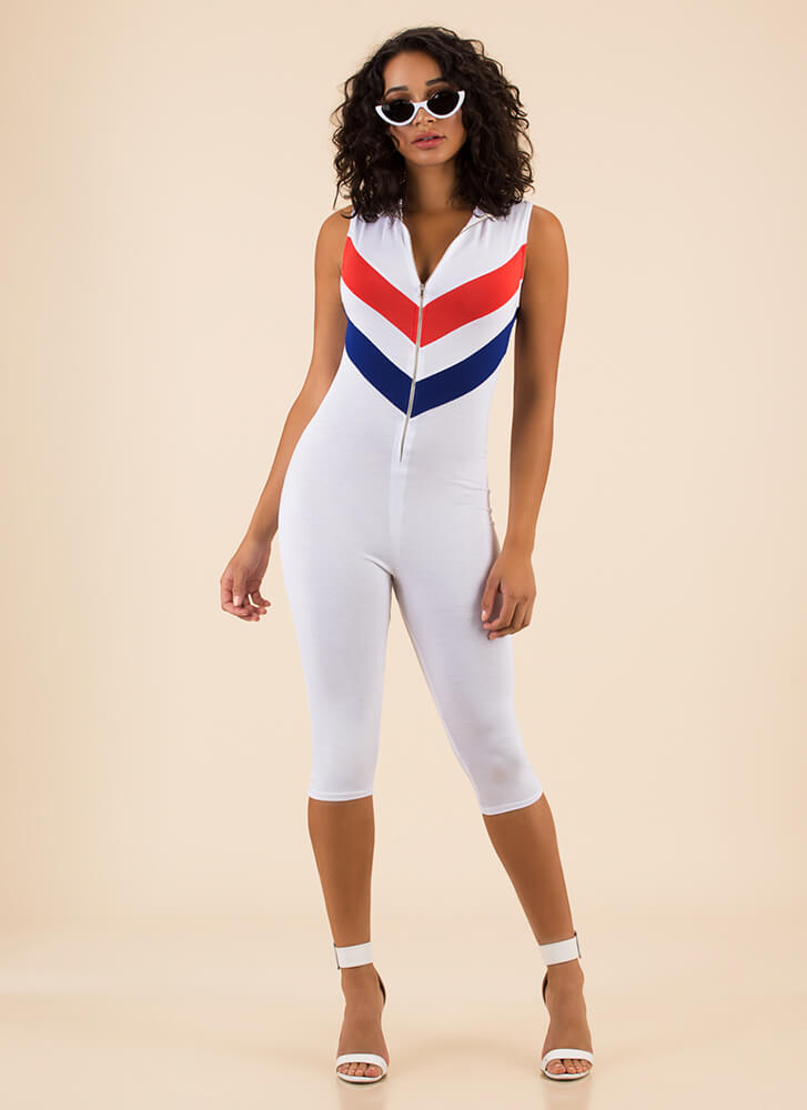 Flying V Zip-Front Chevron Jumpsuit WHITE