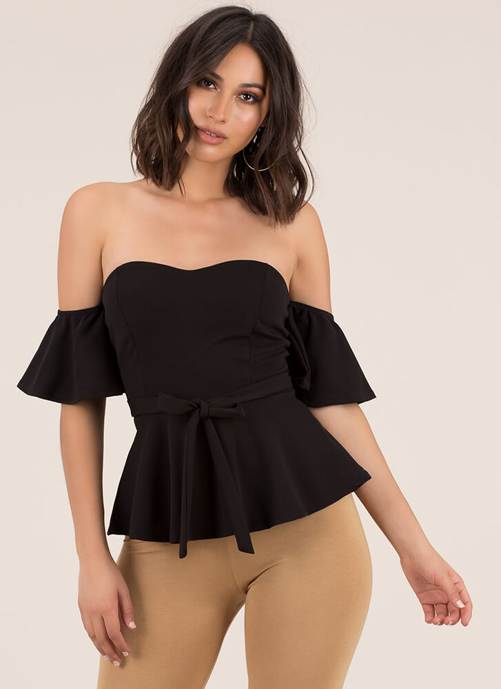 Truth Or Flare Tied Off-Shoulder Top BLACK