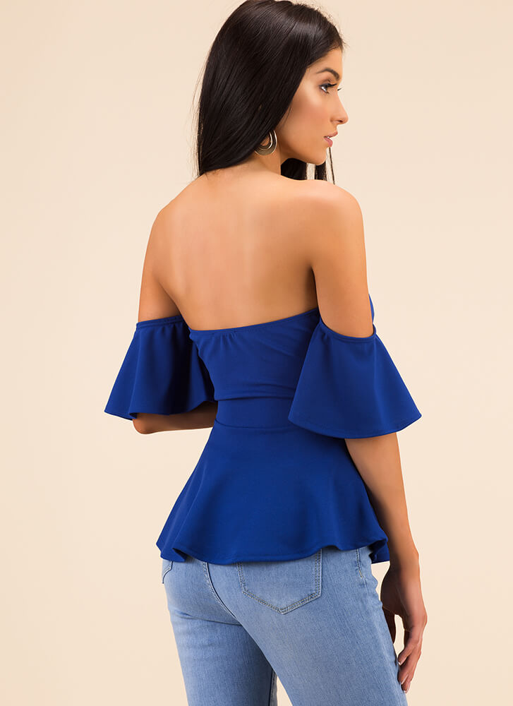 Truth Or Flare Tied Off-Shoulder Top ROYAL