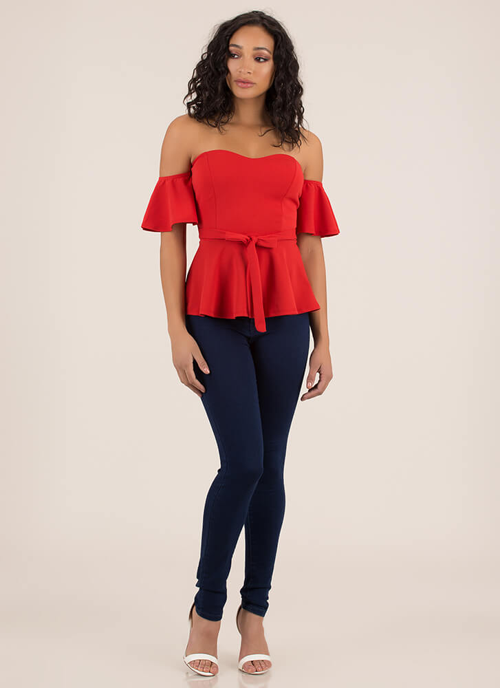 Truth Or Flare Tied Off-Shoulder Top TANGERINE