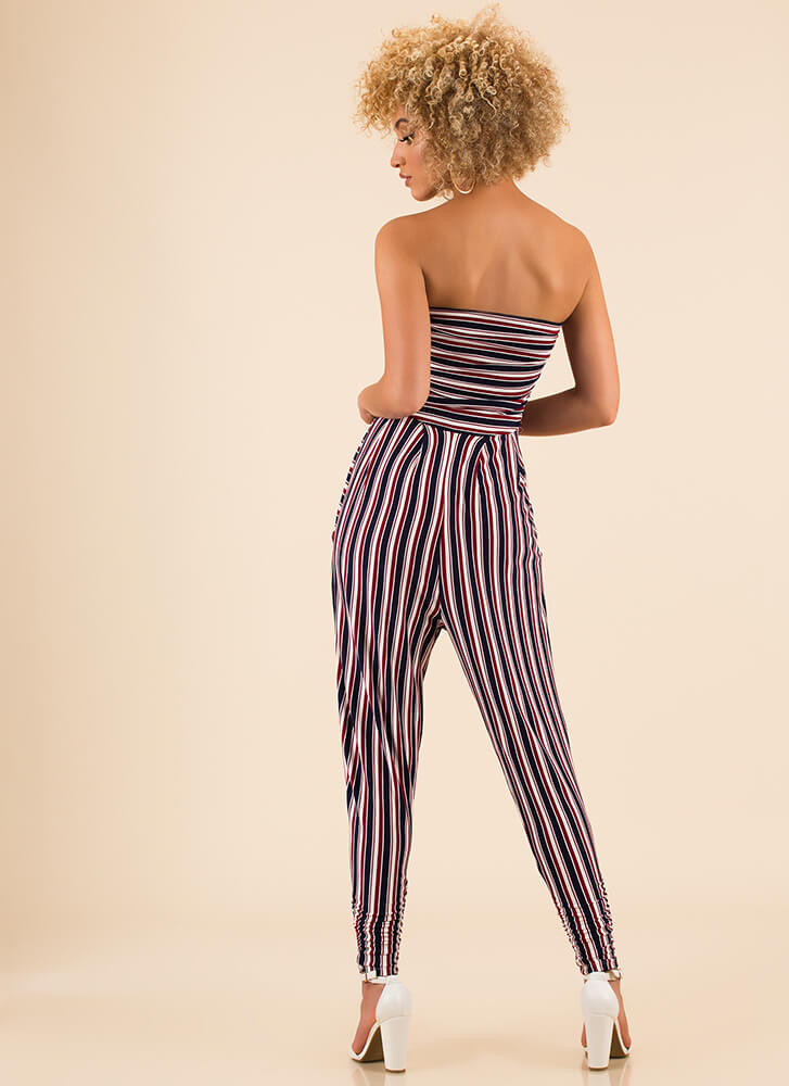 No Problem Striped Strapless Jumpsuit BURGUNDY