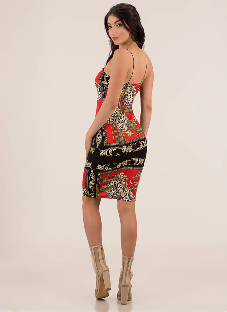 Hot Spots Baroque Print Midi Dress RED
