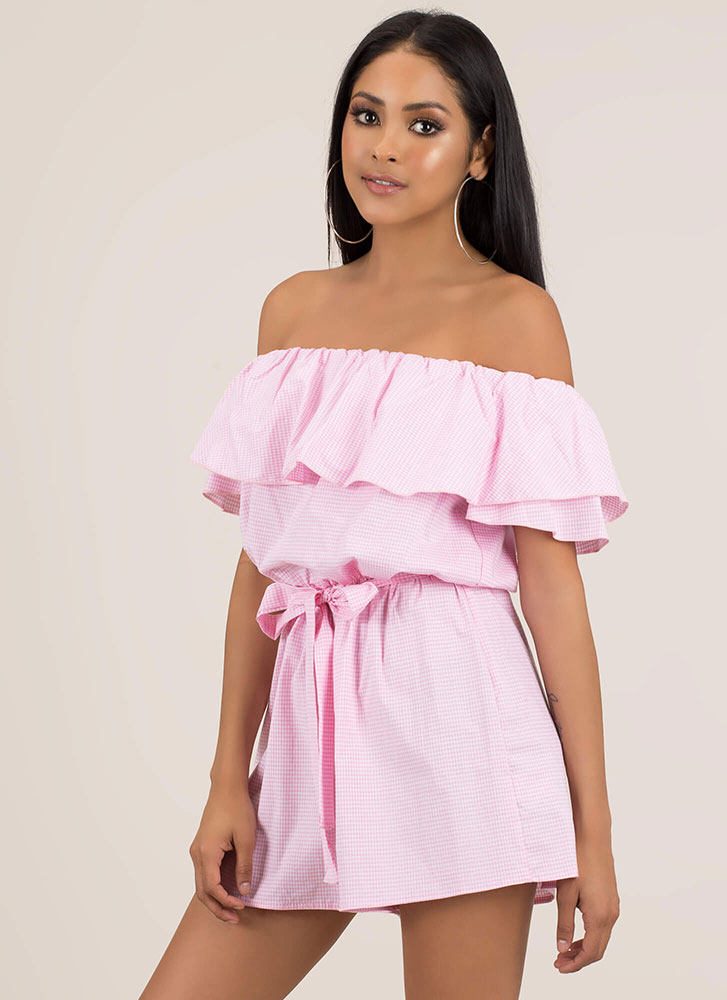 Go Gingham Ruffled Off-Shoulder Romper PINK