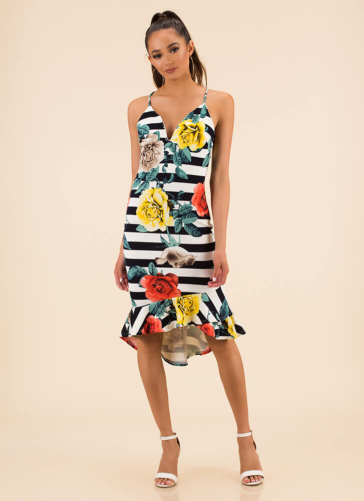 Flowers And Stripes Ruffled Midi Dress NAVY