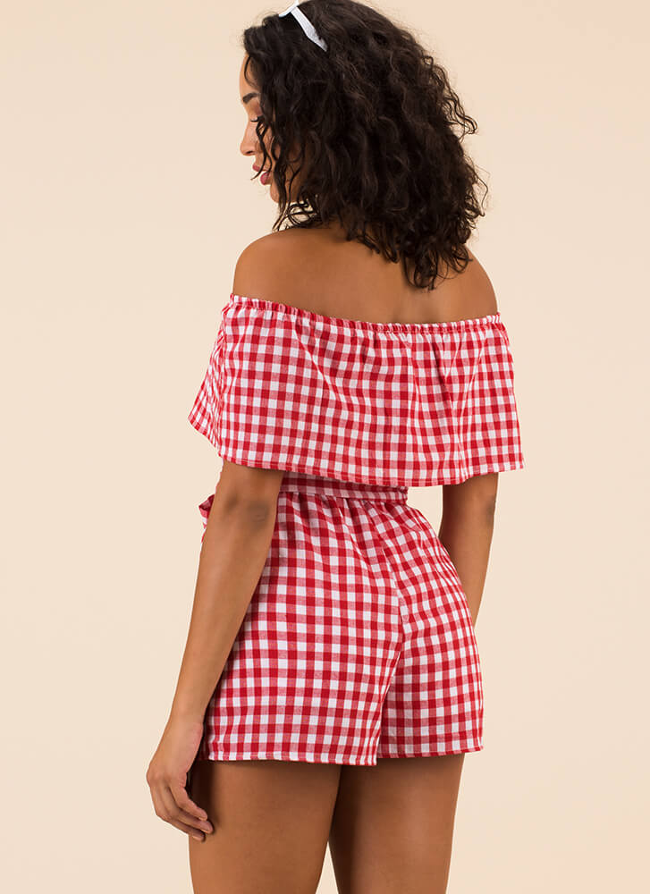 Picnic Life Off-Shoulder Gingham Romper RED