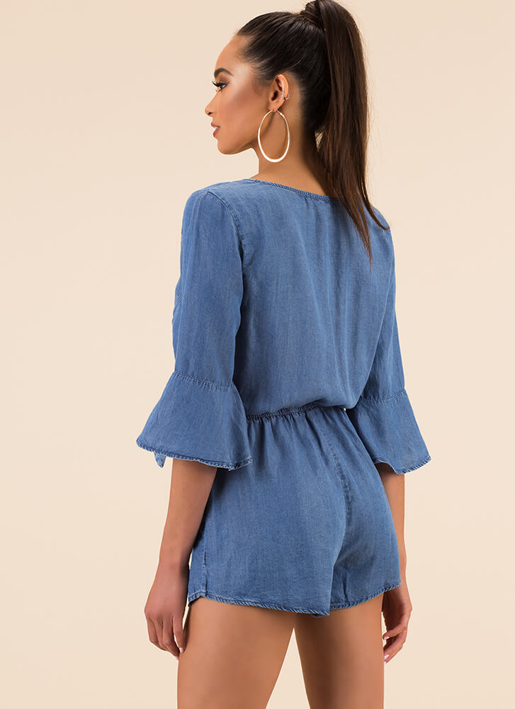 Free Play Surplice Chambray Romper BLUE