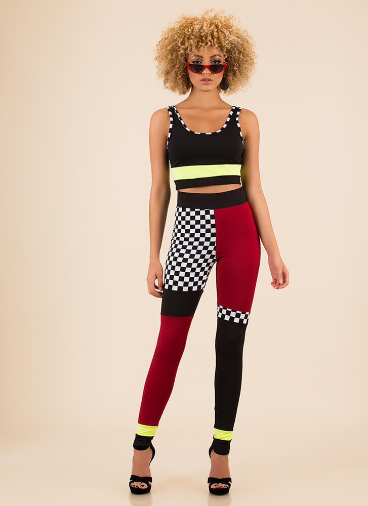 Reach For The Check Top And Legging Set BLACK