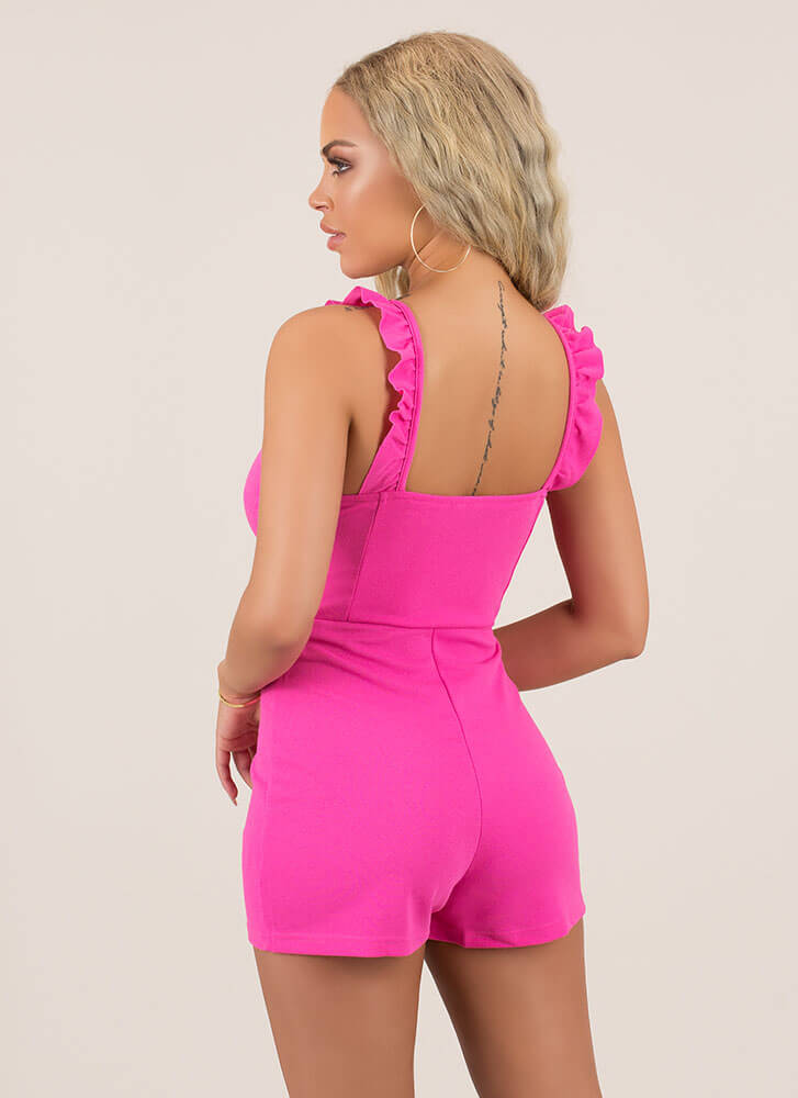 Frilly Reception Knotted Ruffled Romper HOTPINK