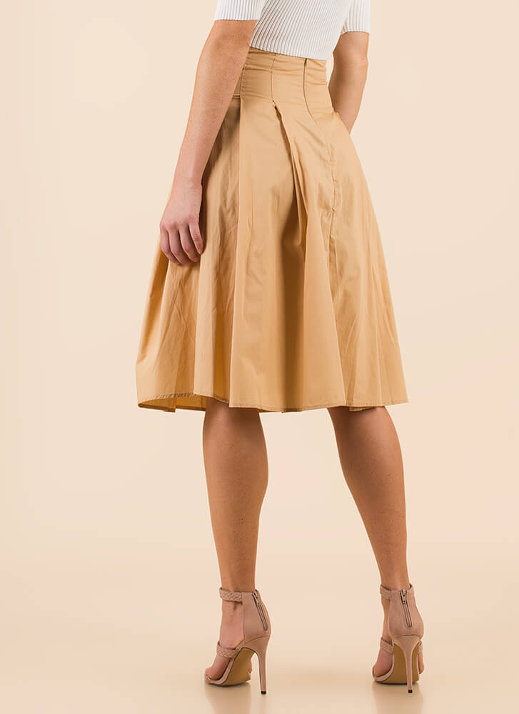 Corset Included Flared Lace-Up Skirt KHAKI