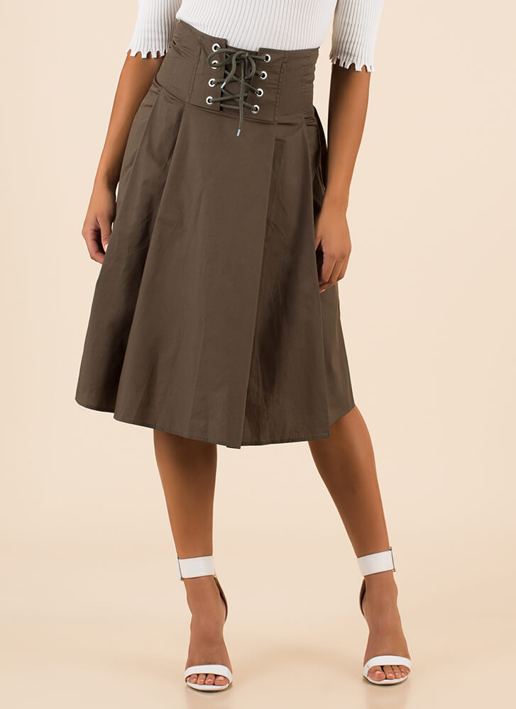 Corset Included Flared Lace-Up Skirt OLIVE