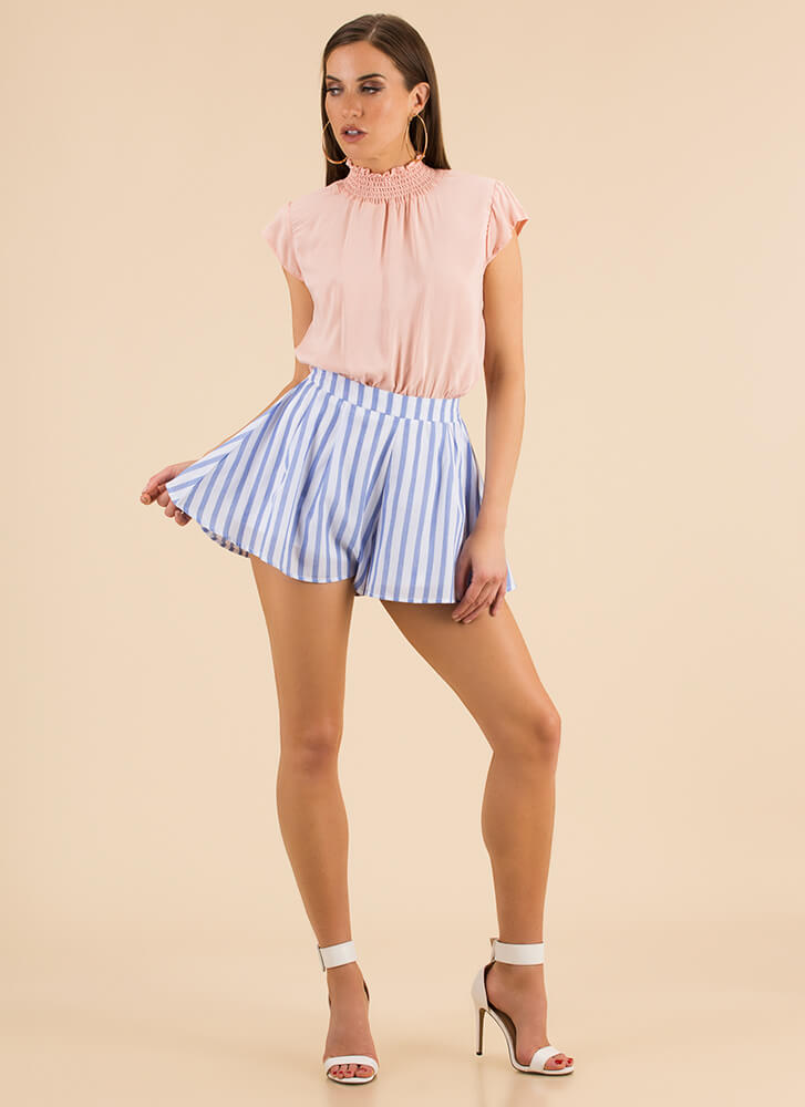 Lovely Day Striped Flared Shorts BLUE (Final Sale)