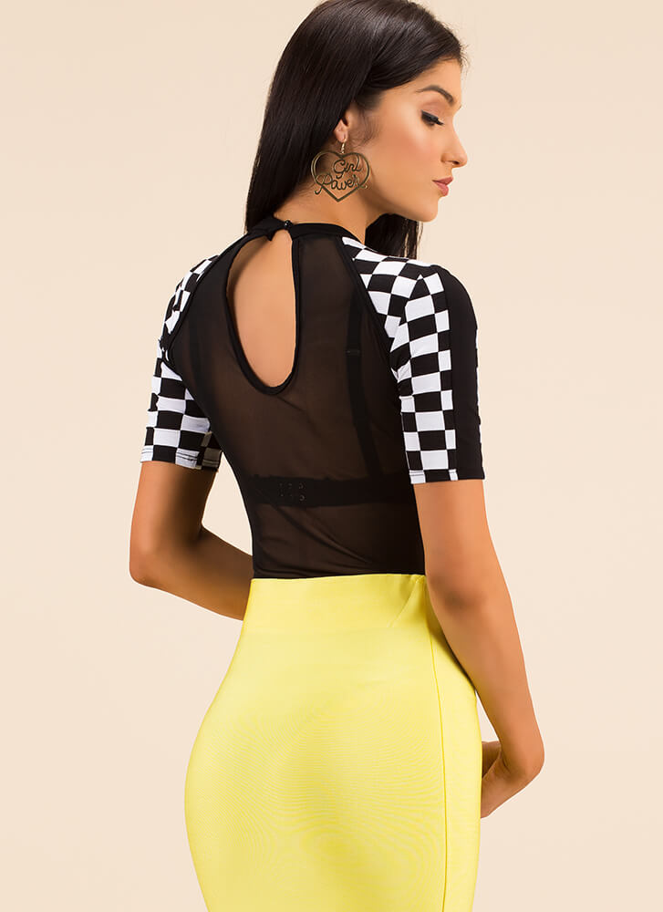 Fast Race Checkered Sheer Mesh Bodysuit BLACK