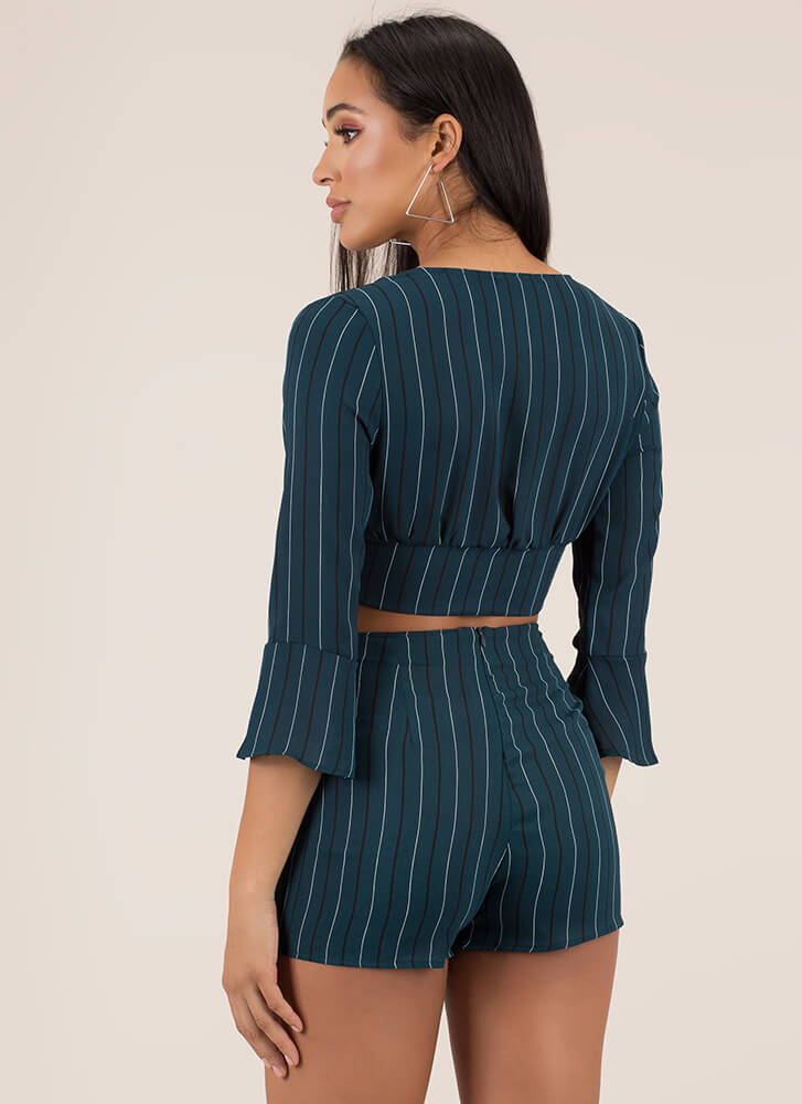 Perfectly Pinstriped Top And Shorts Set HUNTERGREEN