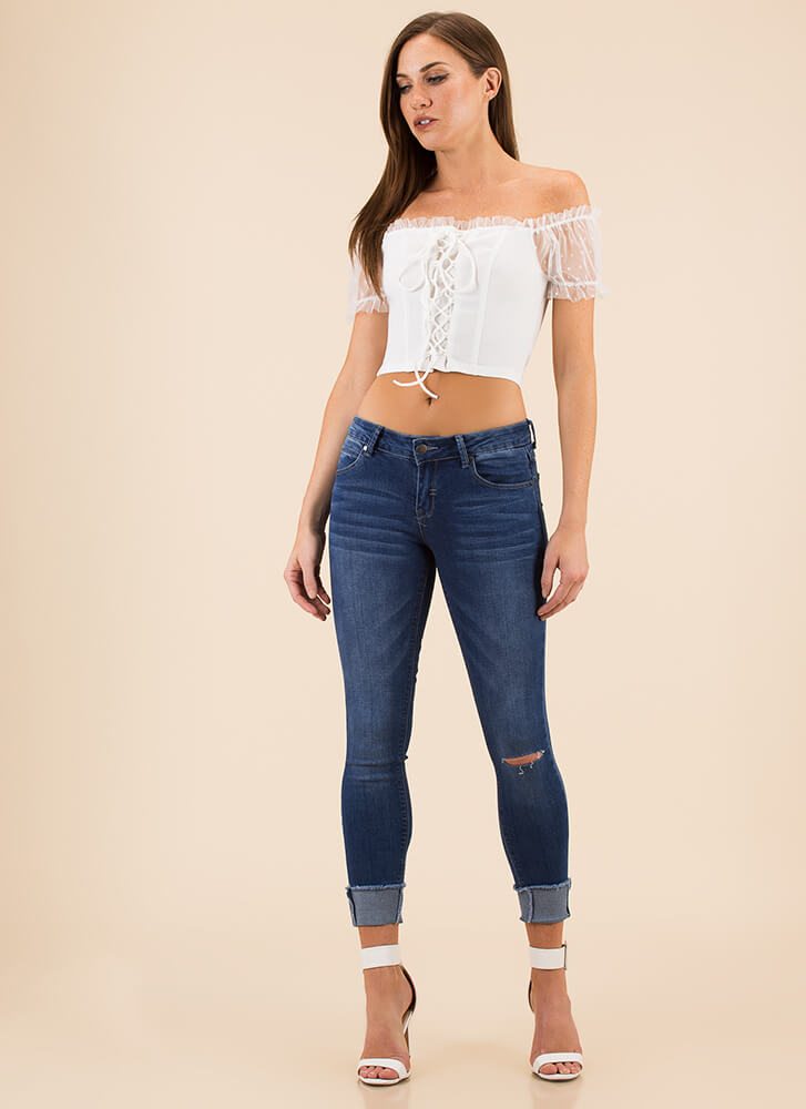 The Cutest Corset Lace-Up Crop Top WHITE