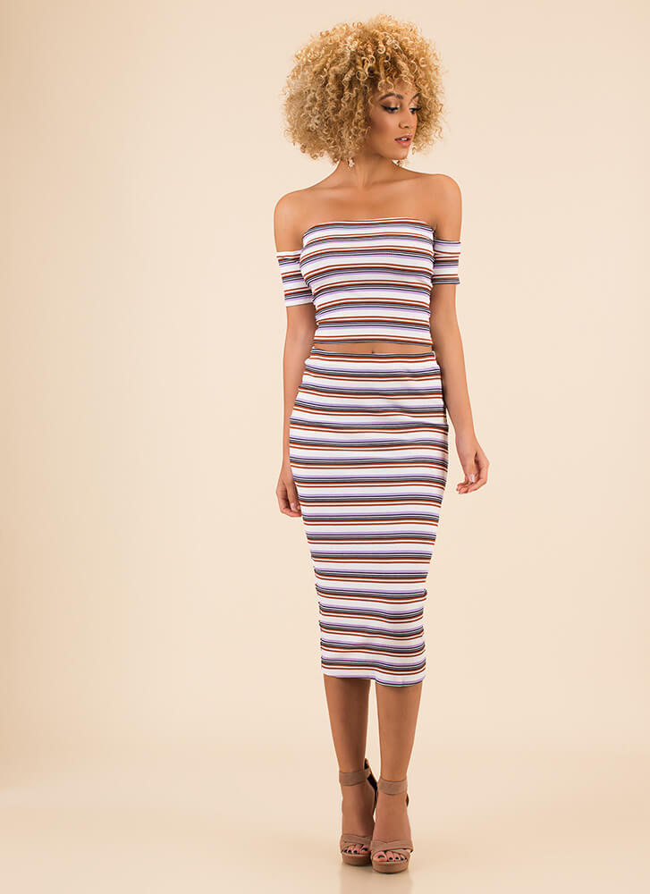 Two Cute Striped Top And Skirt Set IVORY