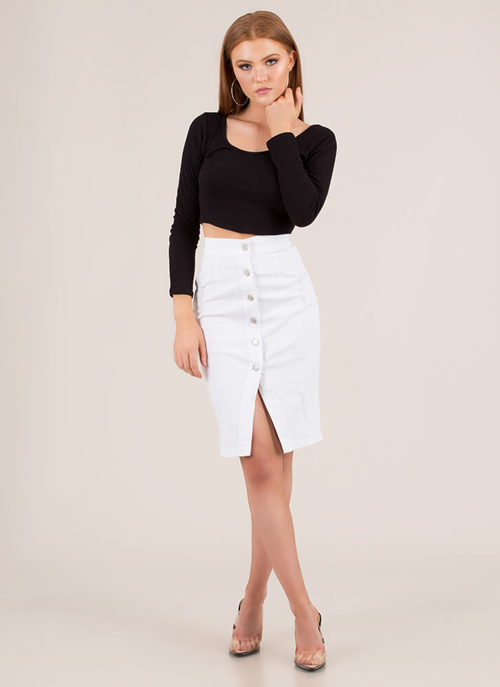Button Your Lip Distressed Denim Skirt WHITE