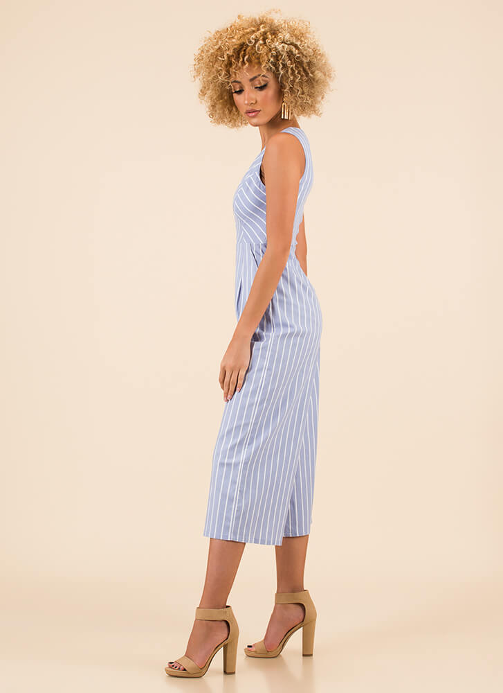 Chic Streak Cropped Pinstriped Jumpsuit LTBLUE