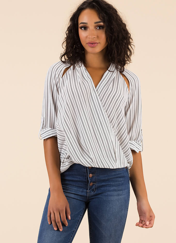 Tuck At Your Heartstrings Striped Blouse WHITE (Final Sale)