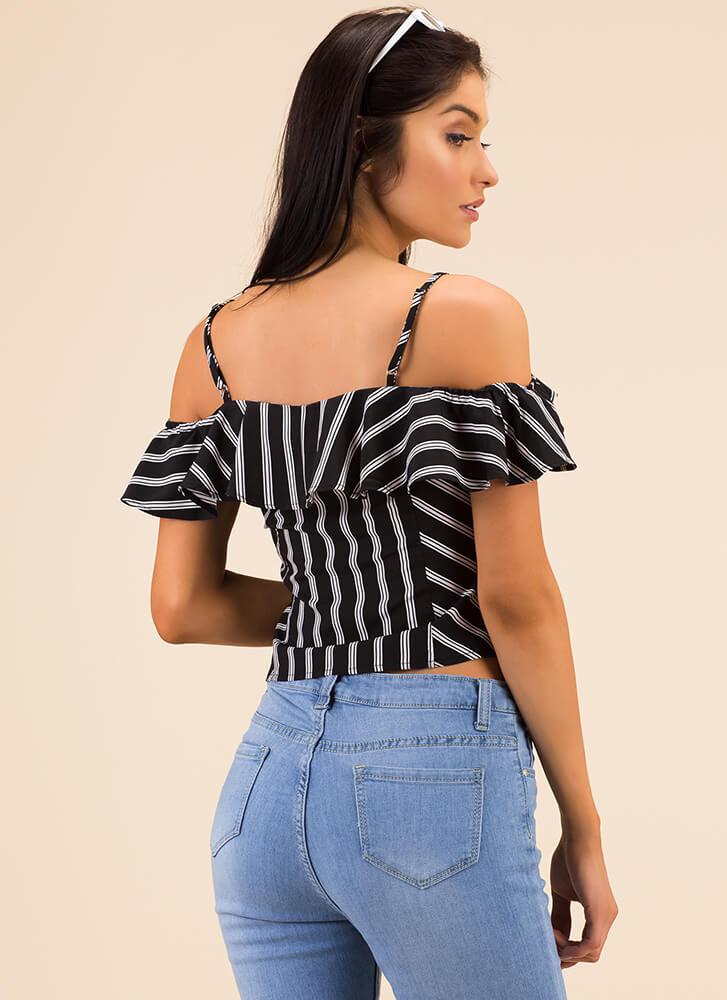 Have Some Fun Ruffled Striped Top BLACK