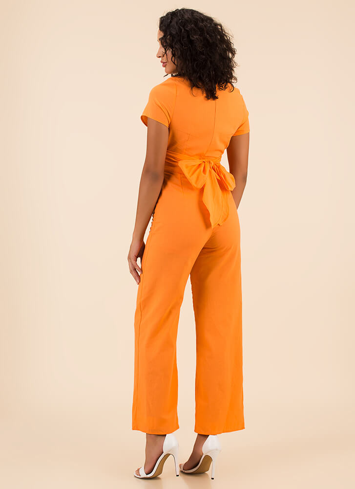 Wrap Song Cut-Out Wide-Leg Jumpsuit TANGERINE