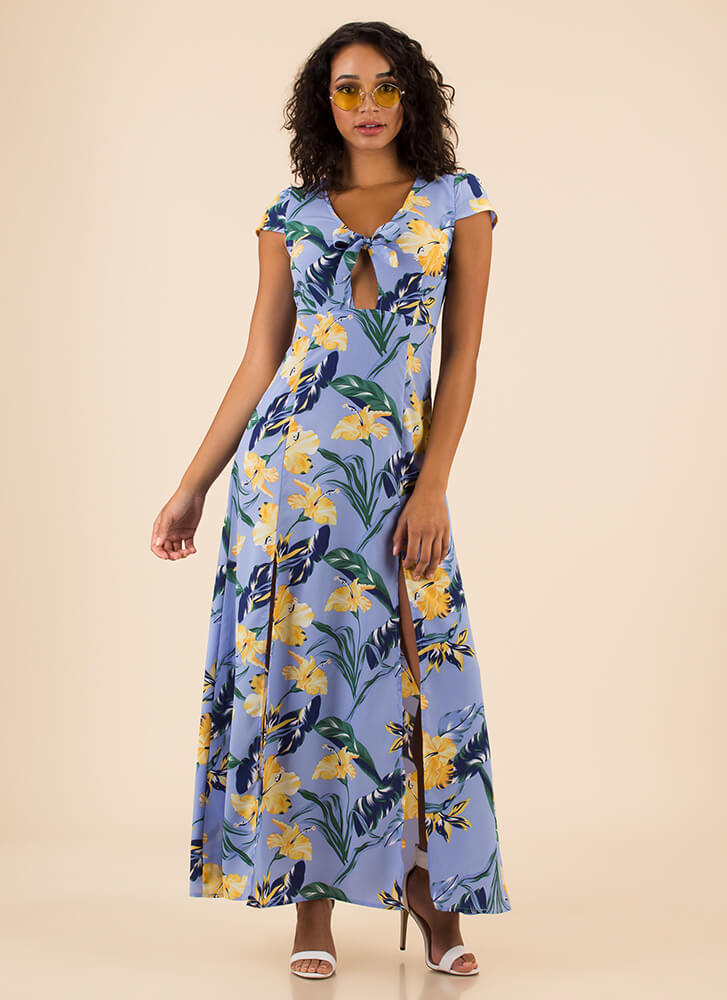 Fresh Flowers Slit Tie-Front Maxi Dress LTBLUE (You Saved $38)