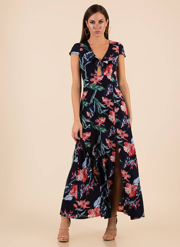 Fresh Flowers Slit Tie-Front Maxi Dress NAVY
