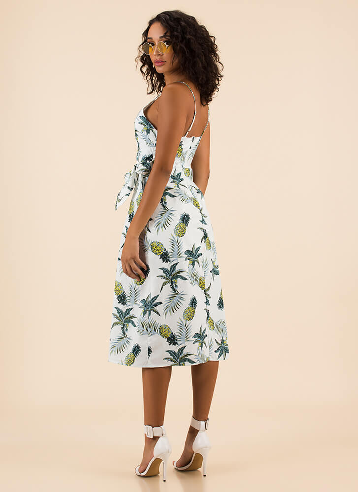 Island Flavor Pineapple Wrap Dress WHITE