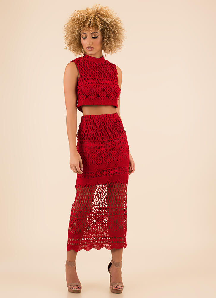 Net Result Crochet Top And Skirt Set RED