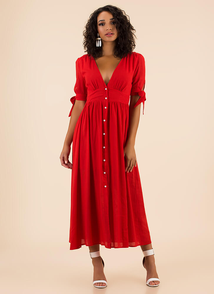 Casual Elegance Button-Up Maxi Dress RED