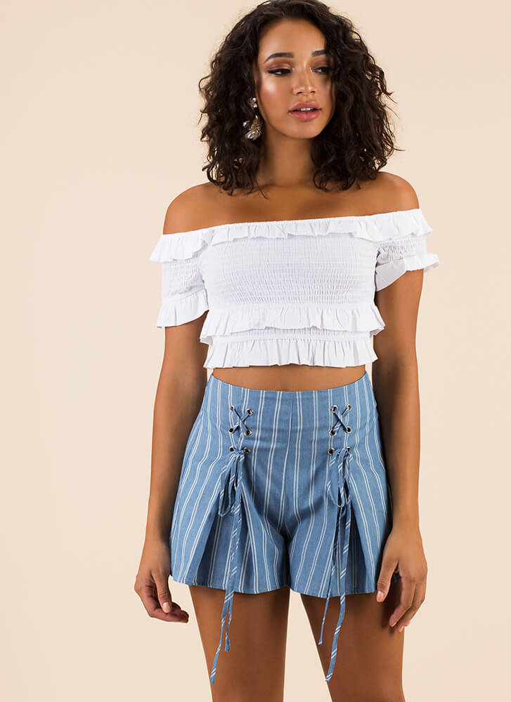 Pretty Pinstripes Flared Lace-Up Shorts BLUE