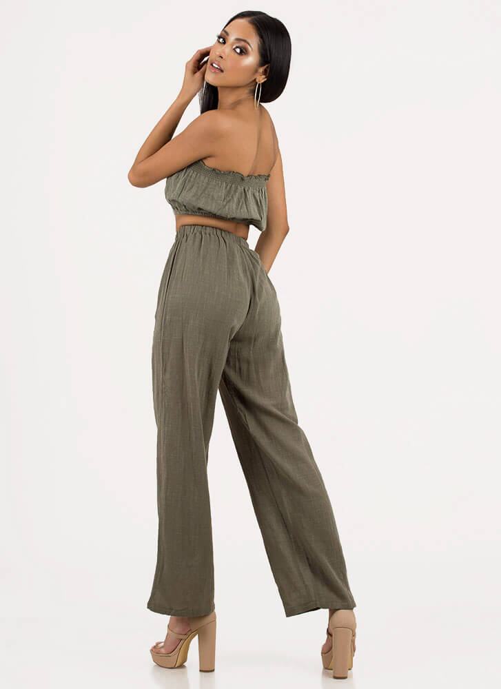 What A Match Strapless Top And Pant Set OLIVE