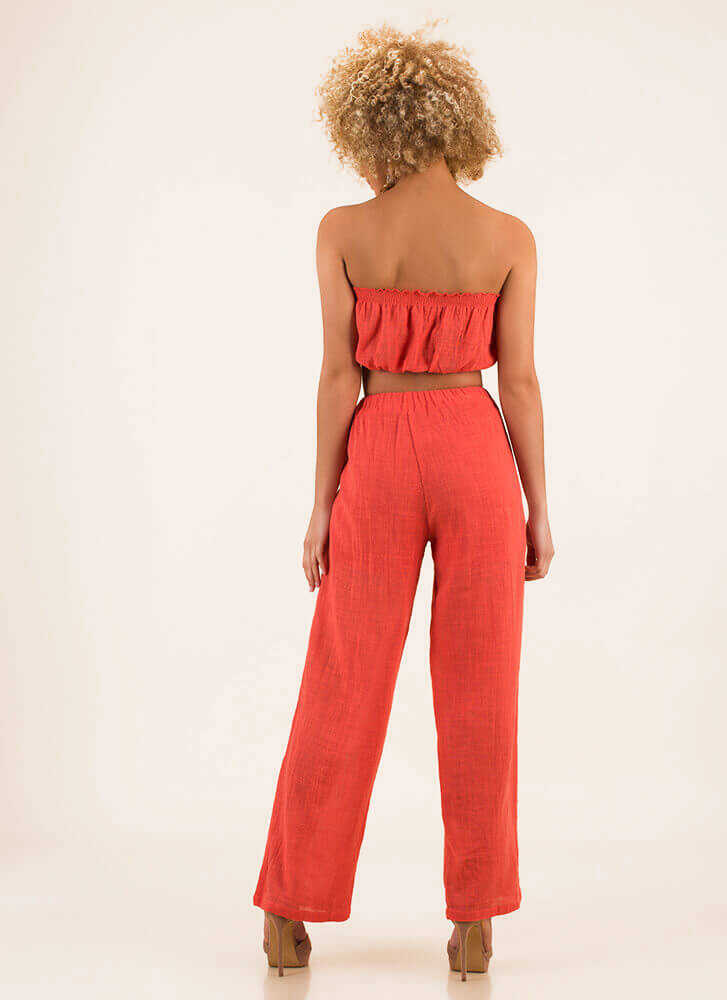 What A Match Strapless Top And Pant Set ORANGE