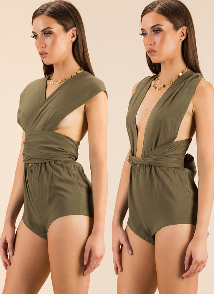 I Like It Like That Multi-Way Romper OLIVE