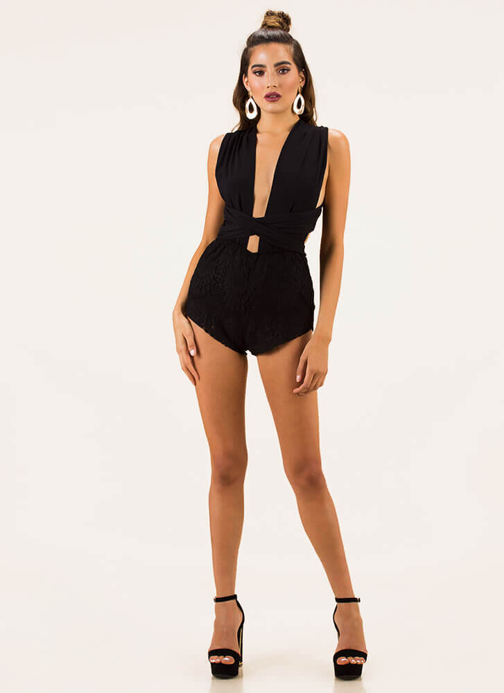 I Did It My Way Convertible Lace Romper BLACK
